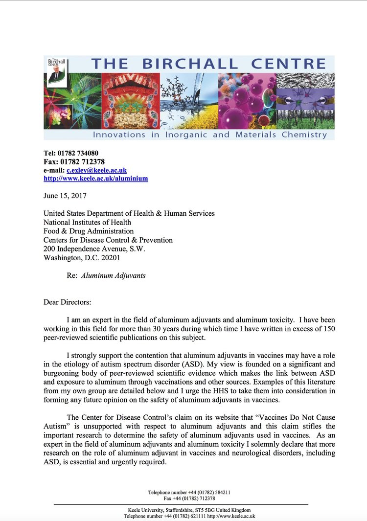 Dr Chris Exley to CDC